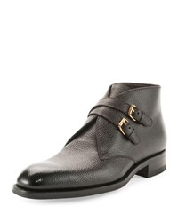Tom Ford Edward Double Buckle Boot Dark Brown