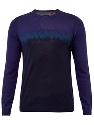 Ted Baker Forest Needle Punch Crew Neck Jumper Blue