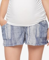 A Pea In The Pod Printed Maternity Shorts Blue White Stripe