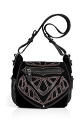 Isabel Marant Black Suede Leather Ballwin Bag With Applique Gr. One Size
