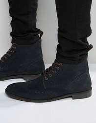 Asos Brogue Boots In Navy Suede With Tan Leather Trims Navy