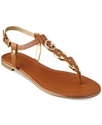 G By Guess Women's Dahlia Braided T Strap Flat Sandals Women's Shoes Honeycomb