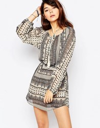 Brave Soul Long Sleeve Gypsy Dress Black Cream
