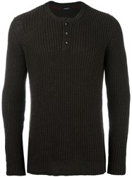 Roberto Collina Buttoned Ribbed Pullover Brown