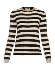 Gucci Striped Merino Cashmere Knit Top Black White