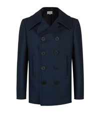 Maison Martin Margiela Wool Blend Double Breasted Peacoat Male Navy