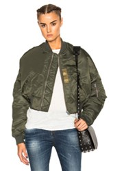 R 13 R13 Flight Crop Jacket In Green