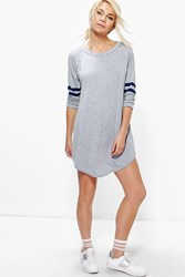 Boohoo Long Sleeve Baseball Shift Dress Grey
