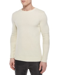 Helmut Lang Crewneck Wool Sweater With Moto Detail Cream