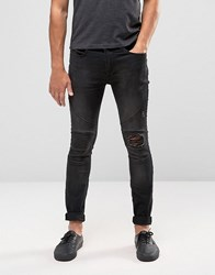 Religion Biker Jean With Rip Repair Knee Detail In Skinny Fit With Stretch Washed Black