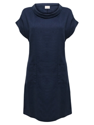 East Bardot Neck Linen Dress Ink