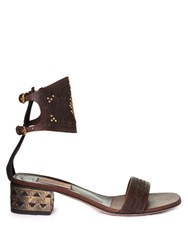 Valentino Laser Cut Leather Block Heel Sandals Dark Brown