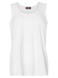 Phase Eight Mindy Pintuck Sleeveless Linen Top White