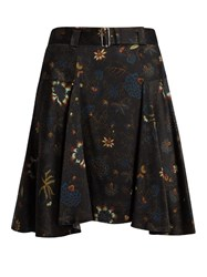 A.L.C. Brien Floral Print Silk Seersucker Skirt Black Multi