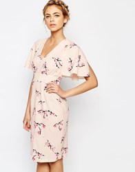 Closet Midi Dress With Angel Sleeve Pink Floral