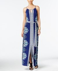 Inc International Concepts Petite Printed Halter Maxi Dress Only At Macy's Goddess Blue