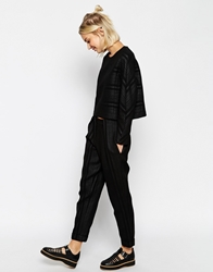 Asos White Bonded Chiffon Trousers With Front Tuck Black