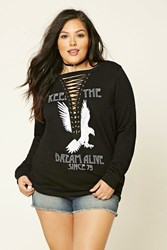 Forever 21 Plus Size Keep The Dream Top Black White