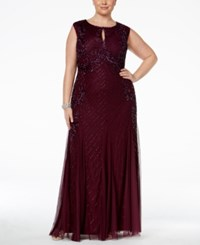 Adrianna Papell Plus Size Beaded Keyhole Gown Cassis Red