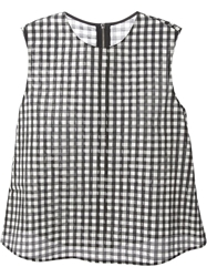 Hache Sleeveless Checked Blouse Black
