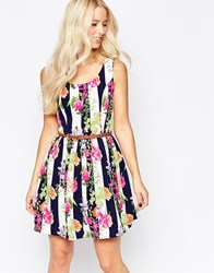 Iska Belted Skater Dress In Floral Stripe Print Multi