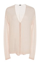 Atm Anthony Thomas Melillo Cashmere Low Cut V Neck Cardigan Light Pink
