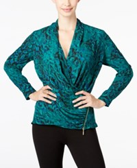 Thalia Sodi Printed Faux Wrap Top Only At Macy's Dark Forest Combo