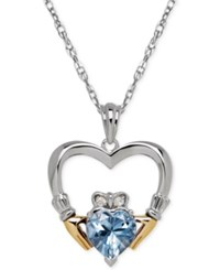 Macy's Aquamarine 1 1 10 Ct. T.W. And Diamond Accent Heart Pendant Necklace In Sterling Silver And 14K Gold