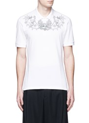 Alexander Mcqueen Tattoo Embroidery Polo Shirt White