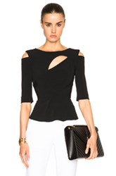 Roland Mouret Bridley Stretch Double Crepe Top In Black