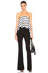 Nicholas Cascade Frill Bustier Top In Stripes Black White