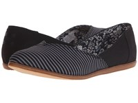 Toms Jutti Flat Black Stripe Women's Flat Shoes