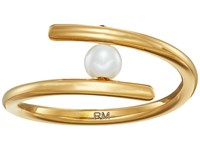Rebecca Minkoff Metal Linear Wrap Ring Gold Pearl Ring
