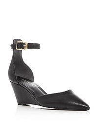 Kenneth Cole Emery Leather Pointed Toe Ankle Strap Wedge Pumps Black