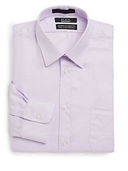 Saks Fifth Avenue Black Modern Classic Fit Houndstooth Check Dress Shirt Lavender