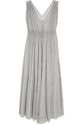Three Graces London Medee Cotton Mousseline Nightdress Light Gray