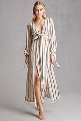 Forever 21 Reverse Stripe Maxi Dress Tan Navy