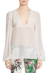 Just Cavalli Long Sleeve Zigzag Caftan Blouse White