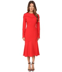 Prabal Gurung Long Sleeve Crew Neck Dress W Separating Yoke Cherry Women's Dress Red