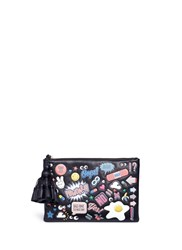 Anya Hindmarch 'All Over Georgiana' Embossed Leather Tassel Clutch Multi Colour