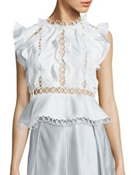 Zimmermann Winsome Cotton Lace Inset Ruffle Blouse Pearl