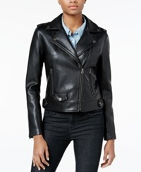 Lucky Brand Faux Leather Moto Jacket Black