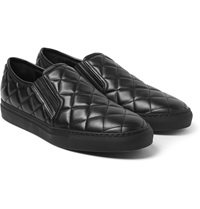 Balmain Quilted Leather Slip On Sneakers