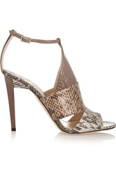 Jimmy Choo Timbus Cutout Elaphe Sandals Animal Print