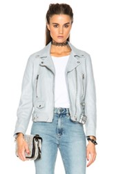 Acne Studios Mock Leather Jacket In Gray Blue