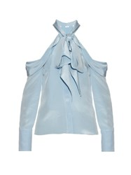 Erdem Alia Exposed Shoulder Cady Blouse Light Blue