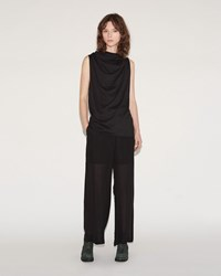 Lost And Found Silk Wideleg Pant Black
