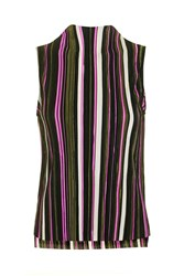 Topshop Stripe Crinkle Sleeveless Top Multi
