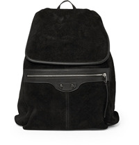 Balenciaga Leather And Suede Backpack Black