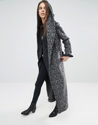 Religion Longline Drapey Textured Coat In Intricate Pattern Charcoal Black